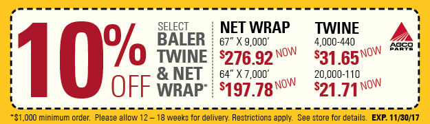 AGCO 10% off Twine and Net Wrap