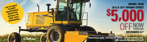 $5000 off 2016 & 2017 WR9800 Series Windrower